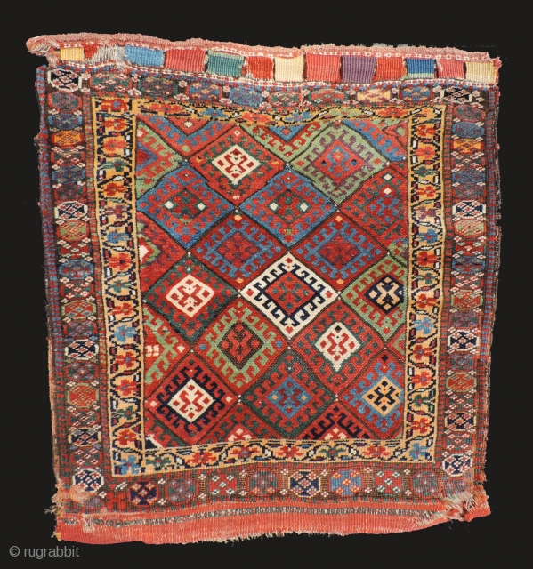 Large, old Jaffe Kurd bag face with back.  19th century.  Very nice color with an apricot ground border. Size: 38 x 34 inches.