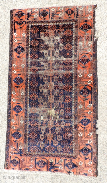 Old Baluch. great soft glossy wool, Size: 33 x 60 inches.
