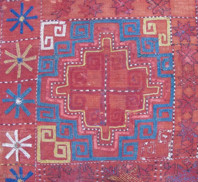 Kungrat Embroidered Square with corroded blacks, Soulful. Size:27 x 29 inches