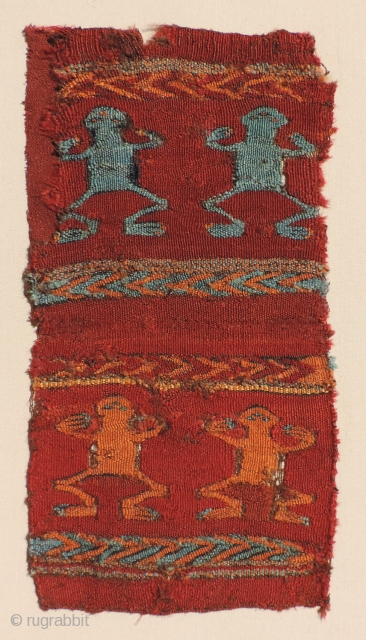 Frogmen!  Great little pre-Columbian textile with frog-like creatures. Beautiful warm colors and strong graphics. Probably dates to about A.D. 400 - 600. This piece was originally collected as a repurposed small  ...