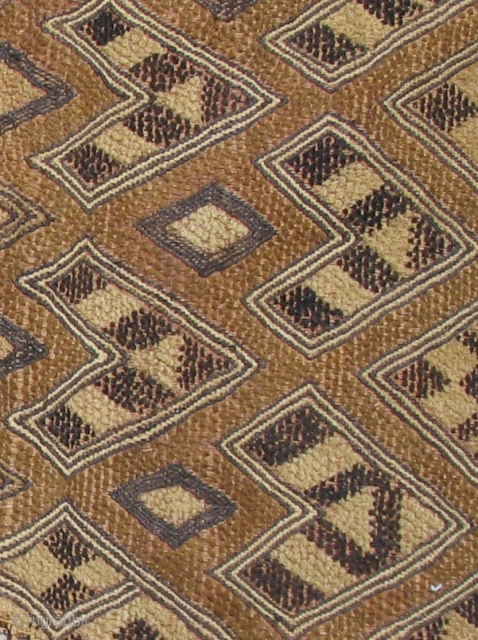 """Man's Status Cloth, probably Bushong or Mbeengi people, D.R. Congo, early 20th century.  This unusual """"Kuba cloth"""" panel has a rough and primitive quality that sets it apart from others.   ..."""