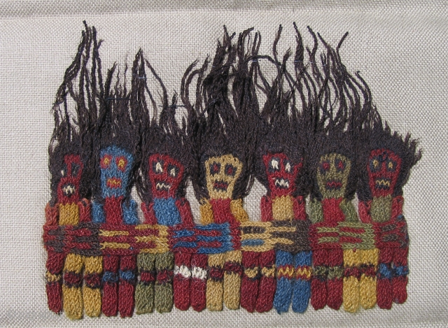 Proto Nasca Knit Figures.  100 BC - 200 AD.  Hair-raisingly good pieces at fair prices!  6.25 x 5 inches.  Lot's of nice Pre-Columbian textiles including early complete spectacular  ...