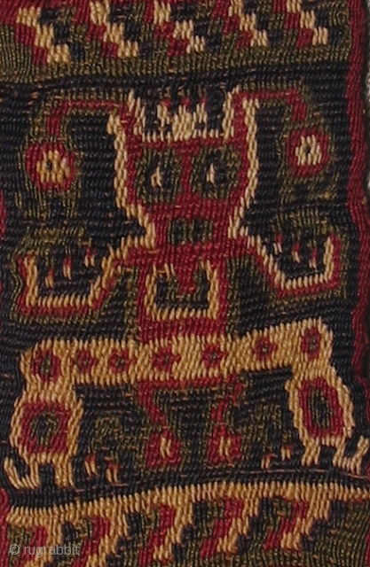 Wari Headband Double Cloth Fragment.  AD. 500 - AD. 800, Shaman figure and bird figure.   2.25 x 14 inches.