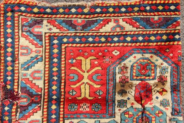 "Superb, mid 19th century Fachralo prayer rug fragment. Approx 3'5"" x 2'0"""