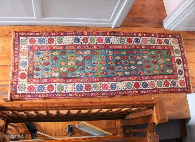Green field Talish area Caucasian long rug, sold in situ.