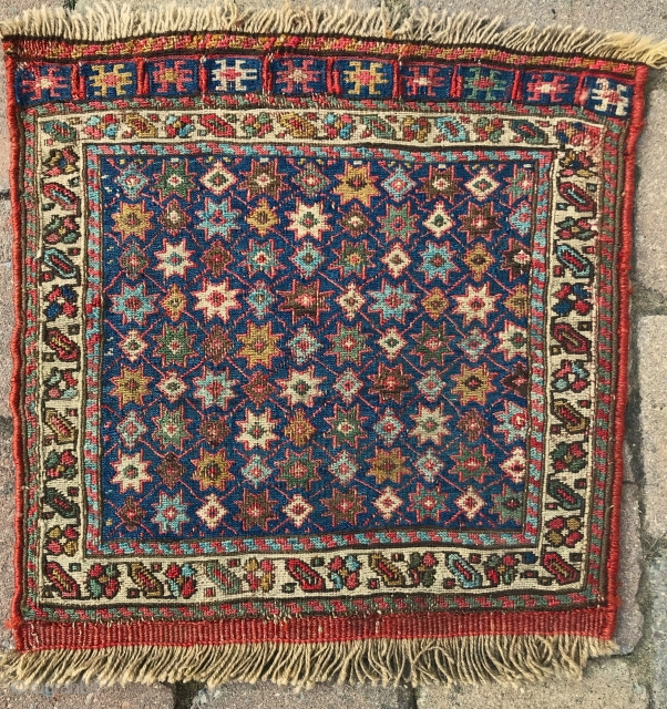 Shahsavan Khamseh bag face. 15inx15in. 19th cent. Excellent condition. Two small nicks in white border in the top left and right corners that have been stabilized (see picts). Excellent colors and drawing.  ...