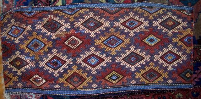 Mafrash side panel.  Brocade.  Good condition, small areas of wear.  Nice blues.