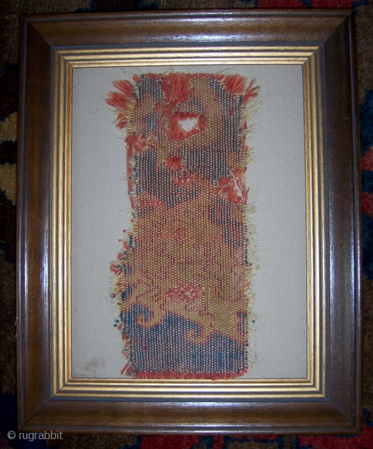 """Very early Spanish flatweave (pre 1800).  Mounted in wood frame.  Size  15.5"""" x 12.5"""", including frame (11"""" x 4.5""""  without frame).  Please check out my other listings.  ..."""