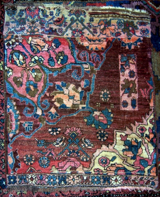 """Bijar sampler, circa 1900, 21""""x26"""".  Interesting mix of designs on this wagireh.  Wool warps, wefts are mix of cotton and wool.  Please check out my other listings, and for  ..."""