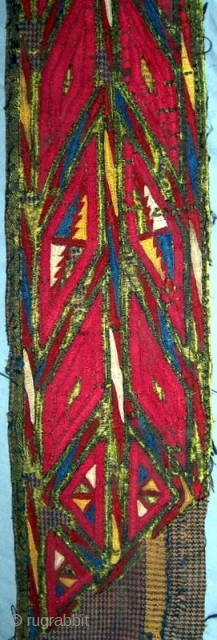 """Tekke silk embroidery on cotton backing, 19th century.  3\'3\"""" long by 3\"""" wide.  Possibly used as a collar.  Please email for additional photos or for more information, and check  ..."""