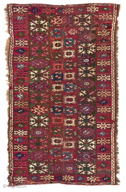 Rare Antique Rabat or Casablanca Moroccan knotted pile carpet fragment, about 193 x 117 cm (76 x 46 inches). The two ends of a large carpet 193 cm wide, sewn together down  ...
