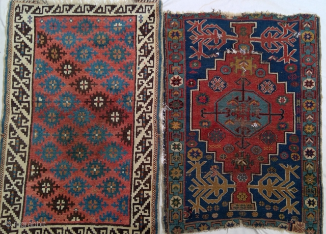 Two antique Avar small rugs for the price of one