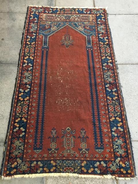 """Turkish Prayer Rug, 3' x 5'9"""", Circa 1900"""