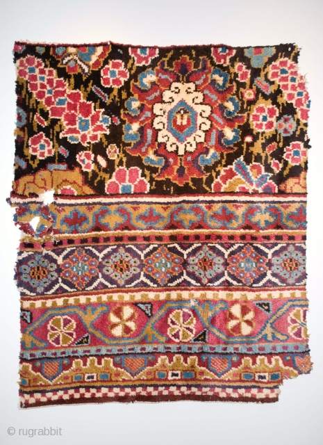 Spanish colonial rug fragment, Peru, alpaca wool, early 18th C