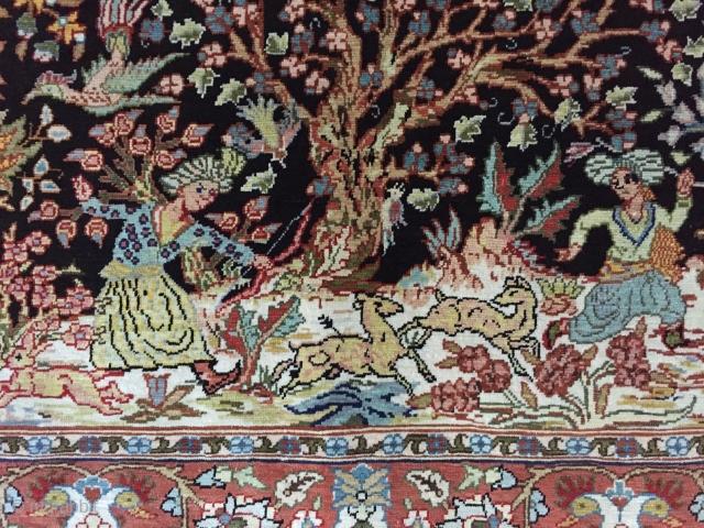 Hereke pure silk carpet 14x14 cm Size:62x42 cm
