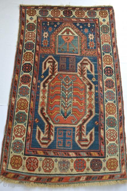 Beautifull Antique South Caucasian Lenkoran Area rare prayer rug