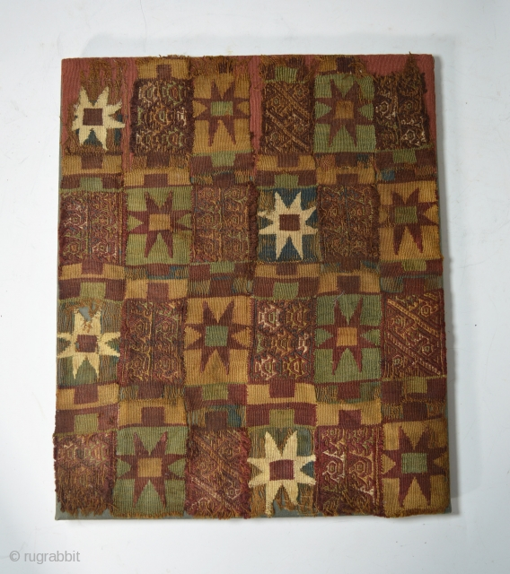 Pre Columbian rare Inca textile fragment panel ancient South America.