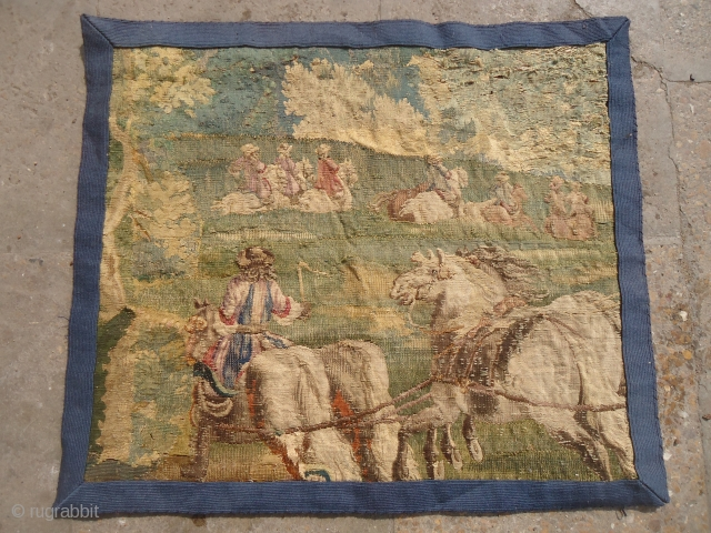 "Early French Tapestry Fragment with very nice drawing.Size 1'11""*1'8"".E.mail for more info and pics."