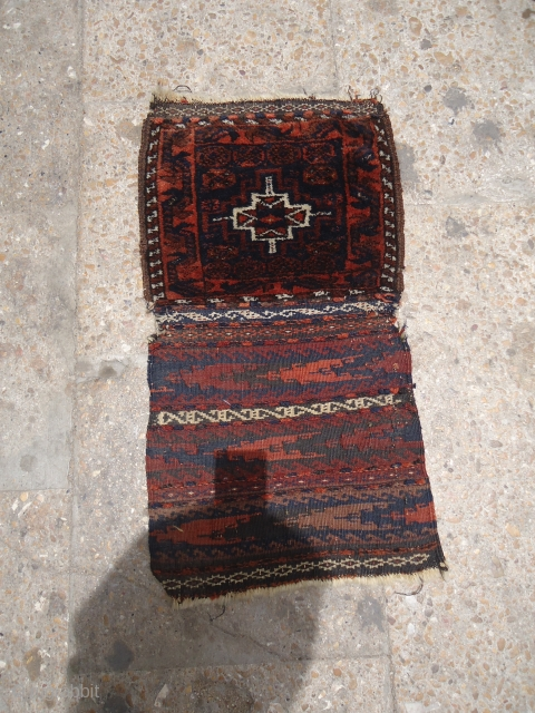 Baluch Chanteh with Original Kilim backing and Silk Highlights,very glossy and shiny wool with good colors.E.mail for more info.