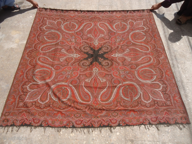 Old French Kashmiri Shawl with good colors design and condition.E.mail for more info and pics.