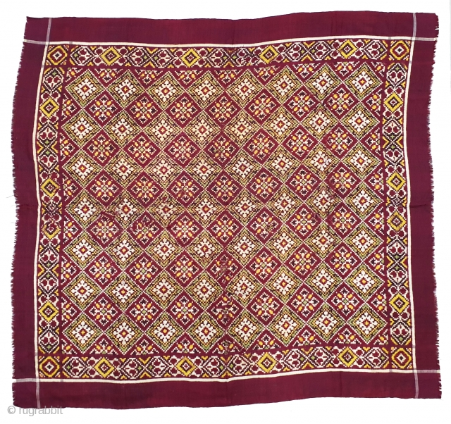 Ceremonial Patola Rumal,Silk Double ikat. Probably Patan Gujarat. India.C.1900. Very Different design and different colour combination.Its size is 100cmX111cm (20190717_164516).