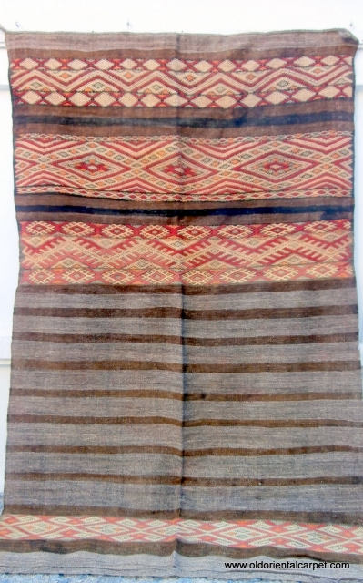 MOROCCAN BERBER MIDDLE ATLAS BAG. Huge sacks like these are first folded in half with the embroidered top section facing outwards and then folded in half again vertically and become co-joined as  ...