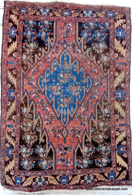 BACHTIAR VILLAGE RUG which is one of a rare group of Bachtiar rugs, which have black or very deep indigo backgrounds, and are from the Zagros mountain region of southern Persia. The  ...