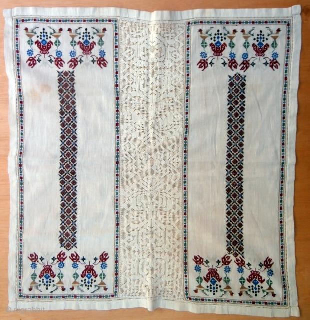 OTTOMAN EMBROIDERY which has exceptionally fine silk stitched designs on a linen background. The piece is composed of two embroidered sections separated by a fine central panel. This technique was often used  ...