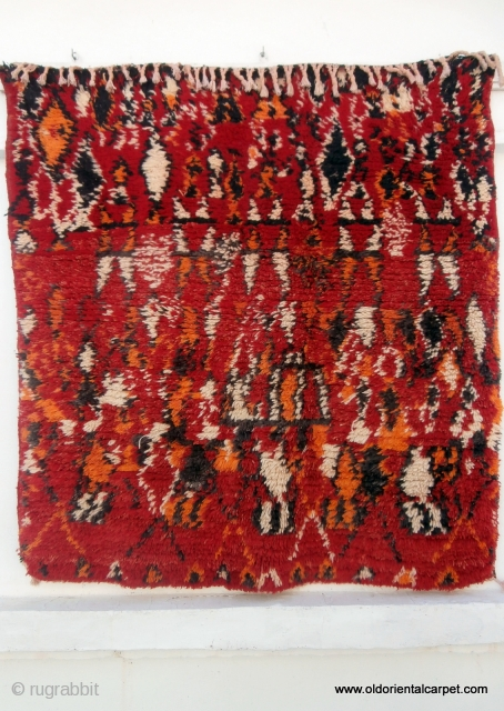 """MOROCCAN BERBER MIDDLE ATLAS RUG from the region of Boujad. There is no better description of rugs from Boujad than Kurt Rainer's in his excellent book """"Marokko"""". He says """"they display strong  ..."""