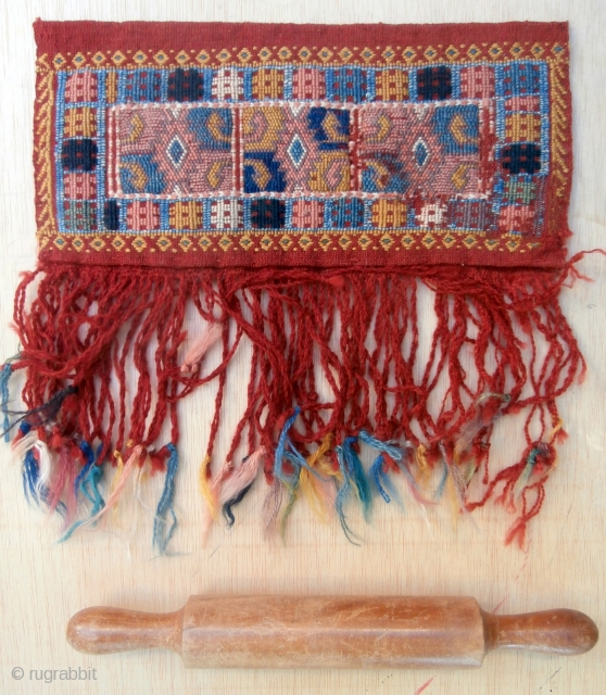 """ANATOLIAN TENT BAG A small and rare bag woven by pastoral Yoruk people in western Anatolia. It is called locally """"oklawali"""" and is used to store items for bread making, especially the  ..."""