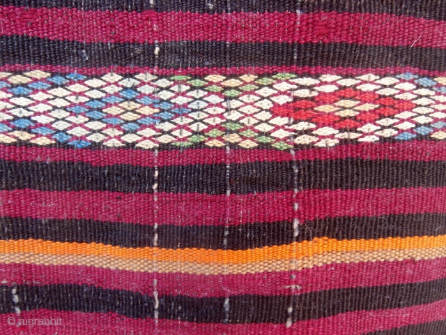 MOROCCAN BERBER EMBROIDERED KILIM, the colours and weave of which indicate that it was woven by the Beni M·guild Berbers in the Middla Atlas. It is old and very fine and was  ...