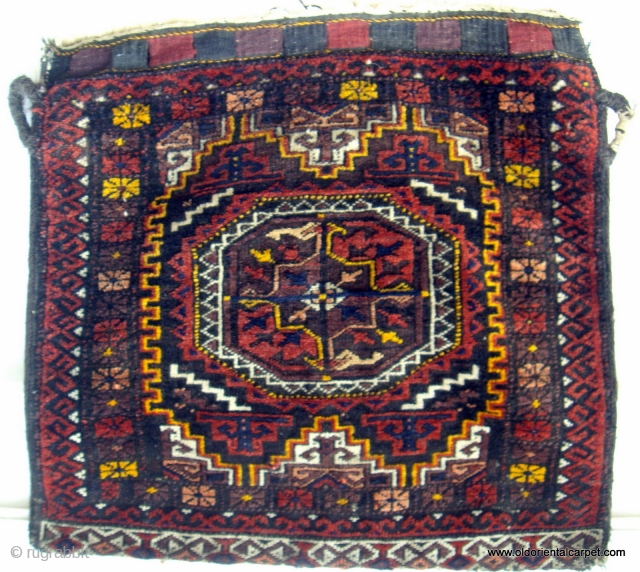 PERSIAN BALOUCH / BELOUCH BAG. A piece to enhance a serious collection. It is from the Salor Khani sub-group and dates from the early 20th century. It is soft and supple with  ...