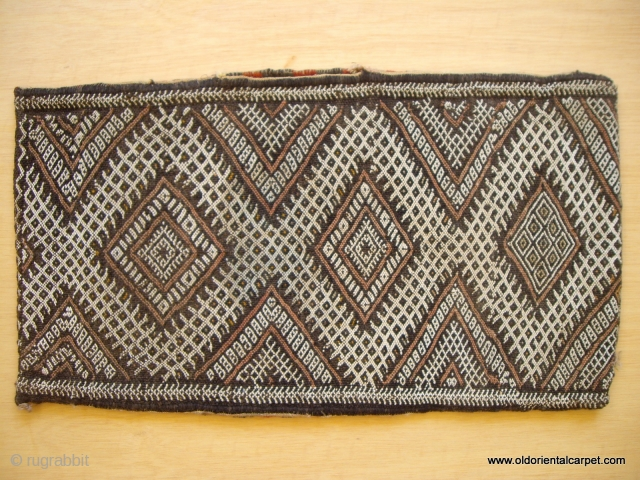 MOROCCAN BERBER PILLOW / BAG woven in the traditional long piece which is then folded and overcast. A small opening is left at the top of one long side so that the  ...