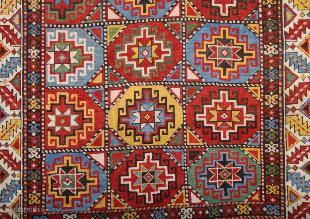 Caucasian Late 19th Century Moghan Rug circa the 1870s or little more early size 130x167 cm It has great colors. This magnificent corridor rug from the Moghan region of Azerbaijan was made  ...