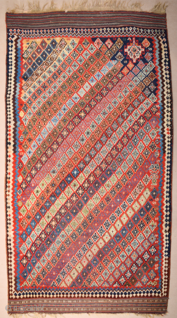 Persian Unusual Qashqai Rug circa 1870 size 145 x 269 cm with kilim ends. We used to see this design on Qashqai kilims but this is something unusual.Rare to see this design  ...