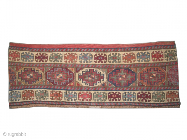"Moghan Caucasian circa 1900 antique. Collector's item, Size: 110 x 40 (cm) 3' 7"" x 1' 4""  carpet ID: A-300 Woven with reverse technique of Soumak, 100% hand spun lamb wool.  ..."