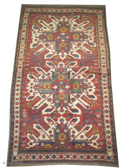 "Tchelaberd Caucasian circa 1905 antique. Collector's item. Size: 224 x 130 (cm) 7' 4"" x 4' 3""  carpet ID: K-3613 Vegetable dyes, the black color is oxidized, the knots are hand  ..."