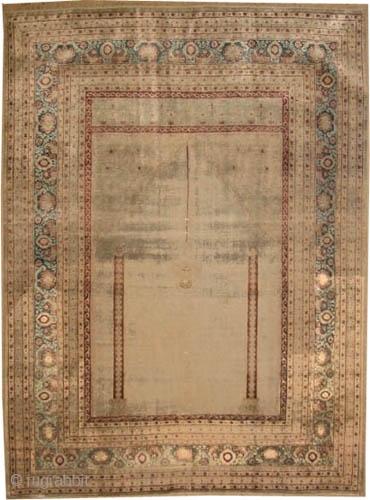 "Happy new year 2020 Hajijelili Tabriz Persian 100% silk, knotted circa in 1900, antique, collector's item.162 x 123 (cm) 5' 4"" x 4' carpet ID: K-5198 Prayer, the knots are hand spun 100%  ..."