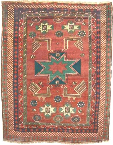 "Star Kazak Caucasian circa 1910 antique. Collector's item, Size: 224 x 183 (cm) 7' 4"" x 6'   carpet ID: K-5292 The black color is oxidized, vegetable dyes, the knots are hand  ..."