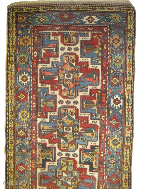"""Shahsavan Persian circa 1895 antique. Collector's item, Size: 392 x 104 (cm) 12' 10"""" x 3' 5""""  carpet ID: K-3371 The black color is oxidized, vegetable dyes, the knots are hand  ..."""