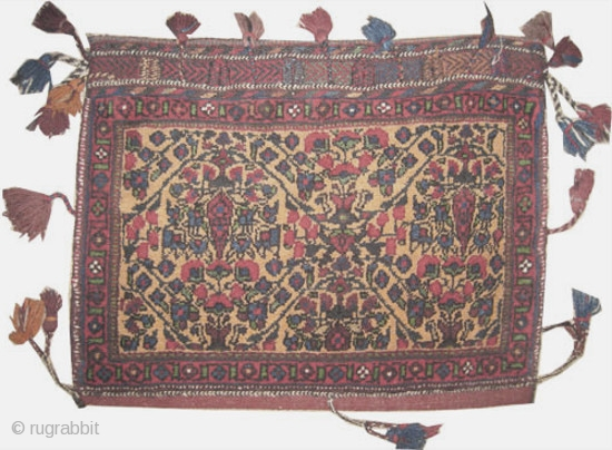 """Afshar Persian circa 1925 semi antique. Collector's item. Size: 60 x 46 (cm) 2'  x 1' 6""""  carpet ID: SA-948 Saffron background with Cyprus trees, surrounded with tassels, the back  ..."""