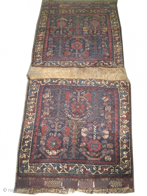 """Qashqai Persian, a pair bag faces, circa 1900 antique, collector's item, Size: 66 x 64 (cm) 2' 2"""" x 2' 1""""  carpet ID: K-4779 The background color is indigo, the surrounded large  ..."""