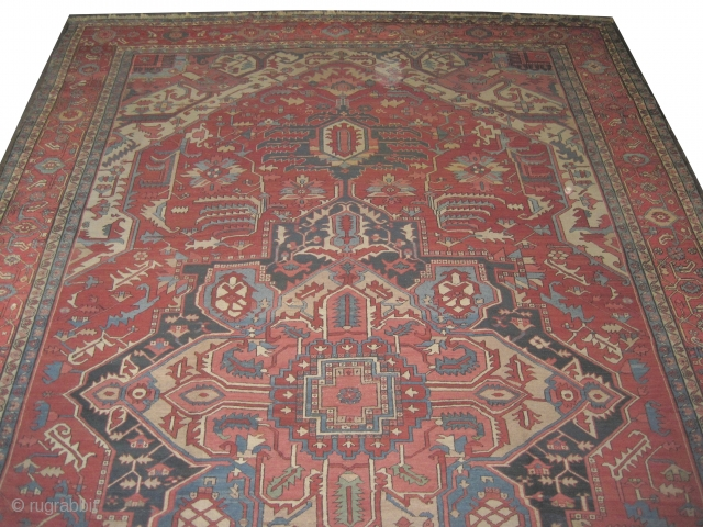 "Serapi Heriz Persian circa 1890 antique. Collector's item, Size: 600 x 388 (cm) 19' 8"" x 12' 9""  carpet ID: P-5035 Good condition, the colors of the center medallion are: indigo, sand  ..."