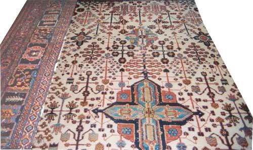 "Joshagan Persian circa 1925 Semi antique. Size: 419 x 271 (cm) 13' 9"" x 8' 11""   carpet ID: P-5797 The background color is ivory, all over geometric design, the center tiny medallion  ..."