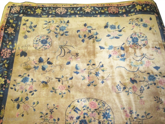 """Chinese carpet circa 1920 Semi antique, Size: 414 x 303 (cm) 13' 7"""" x 9' 11""""  carpet ID: P-3988 Good condition, high pile, the knots are hand spun wool, all over design,  ..."""