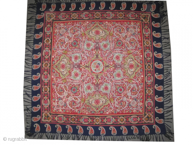 """Rashdi Persian embroidery, circa 1870 antique, collector's item, 149 x 144 (cm) 4' 11"""" x 4' 9""""  carpet ID: MM-10 The silk needle-point is built on pashmina wool stuff, in perfect condition,  ..."""