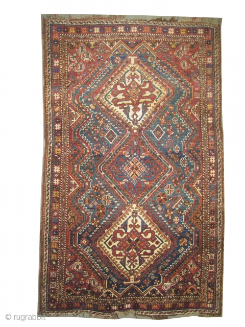 """Qashqai Persian, knotted circa in 1915 antique, collector's item, 185 x 112 (cm) 6' 1"""" x 3' 8""""  carept ID: K-5202 The black color is oxidized, the knots, the warp and the  ..."""