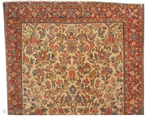 """Qoum Persian 340 x 230 (cm) 11' 2"""" x 7' 6""""  carpet ID: P-4844 The knots are hand spun wool, allover floral design, the background color is ivory, the surrounded large border  ..."""
