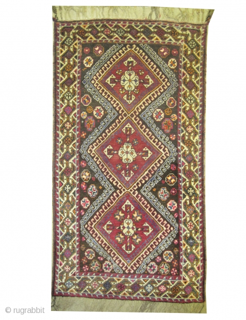 """Qashqai Persian old, 189 x 100 (cm) 6' 2"""" x 3' 3""""  carpet ID: M-367 The knots, the weft and the warp threads are hand spun wool, geometric design, the background  ..."""