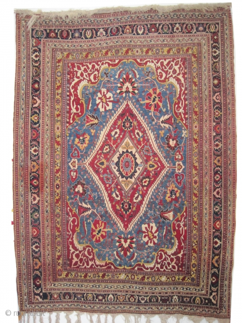 "Qashqai Persian knotted circa in 1910, antique, collector's item, 202 x 145 (cm) 6' 7"" x 4' 9""  carpet ID: K-580